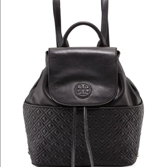 1841b9477ff7 Tory Burch Black Leather Marion Quilted Backpack. M 5aef446f31a376fe67fea025